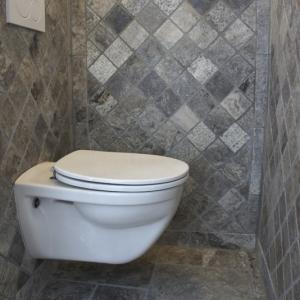 Apulia Grigio Travertin Silver Anticato Toilet.