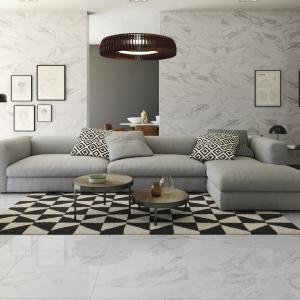 Bianco Carrara Keramiek in grote woonkamer
