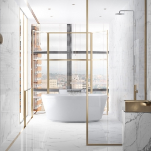 Bianco Carrara Keramiek in luxe badkamer